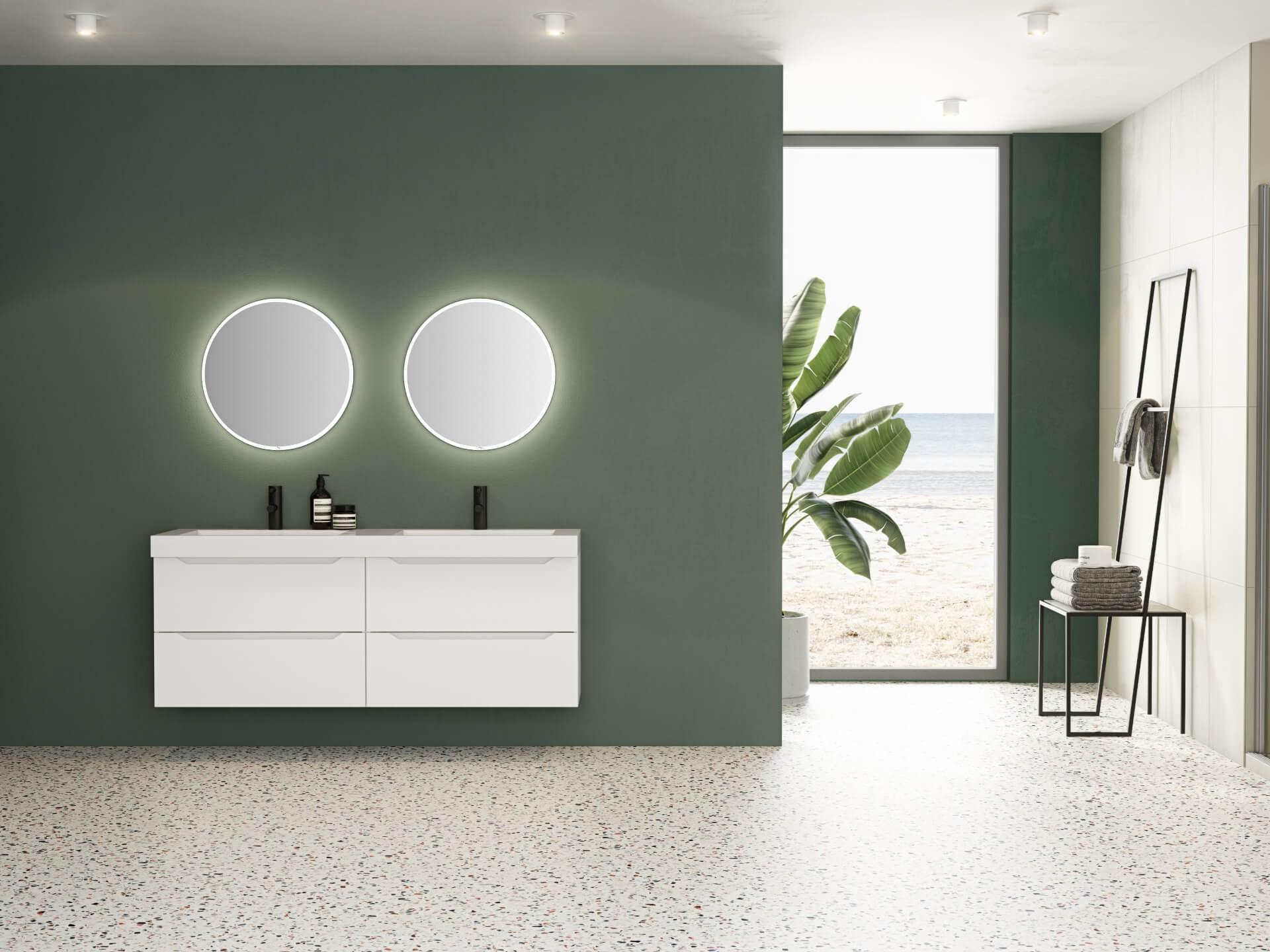 Miljøbilde servantskap Linn Bad Emma 160 hvit matt. Finden rundt speil med lyskant. Terrazzofliser og grønn vegg.