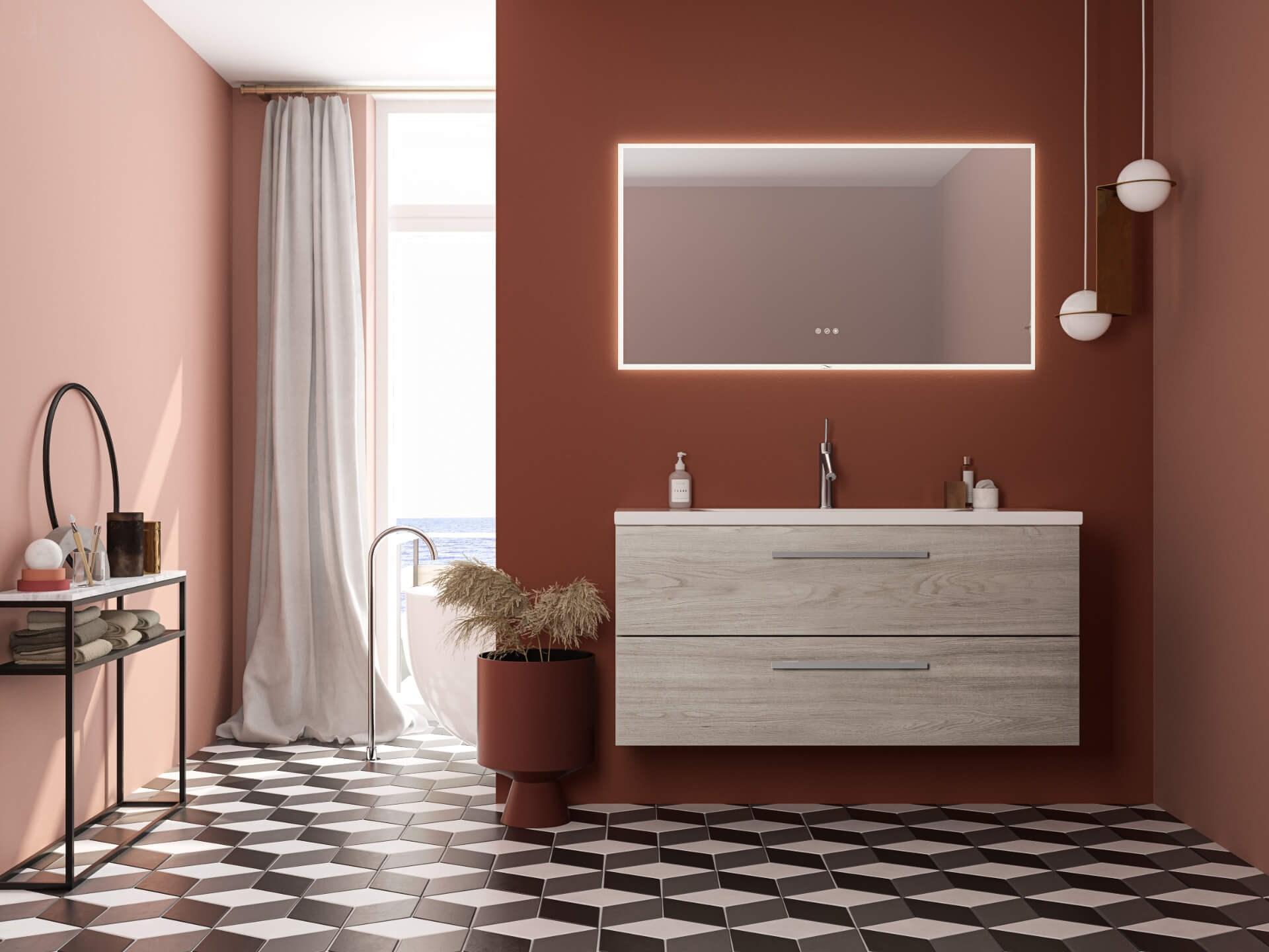 Miljøbilde servantskap Linn Bad Ingrid120 lys eik. Framfjord speil. Mønstret gulv og rødorange og rosa vegger.