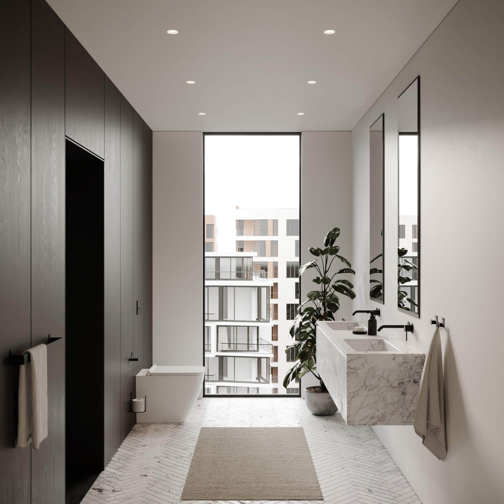 Miljøbilde svart dorullholder, håndkleholder og knagg fra Nichba. Marmorgulv, hvite og en sort vegg.